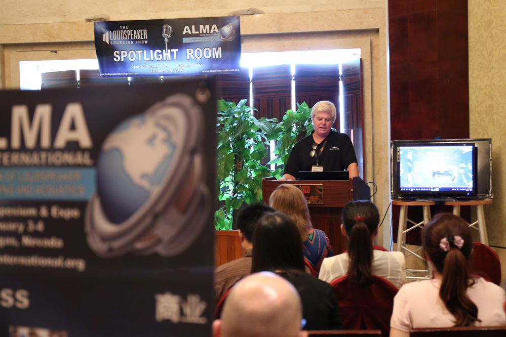 Mr. Rob Gault, President of Eminence gives talk at ALMA Spotlight Room at the Loudspeaker Sourcing Show.
